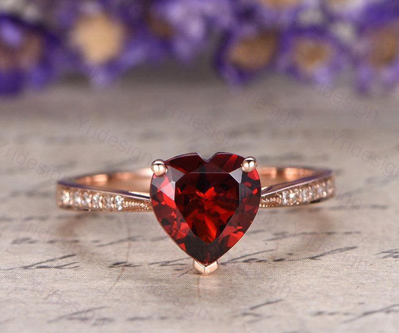 Wedding - Heart shaped natural red garnet engagement ring real diamond garnet ring vintage gold fine jewelry solid 14k rose gold bridal promise ring