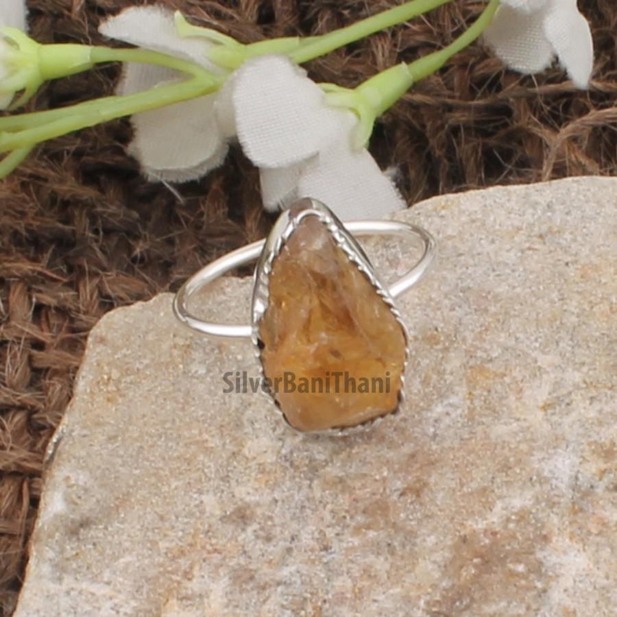 Wedding - Natural Raw Citrine Ring