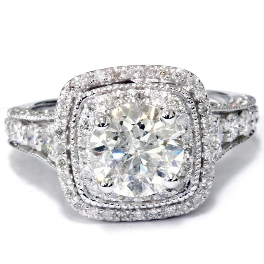 Wedding - Cushion Halo Diamond Engagement Ring 2 Ct Cushion Double Halo Engagement Ring 14K White Gold