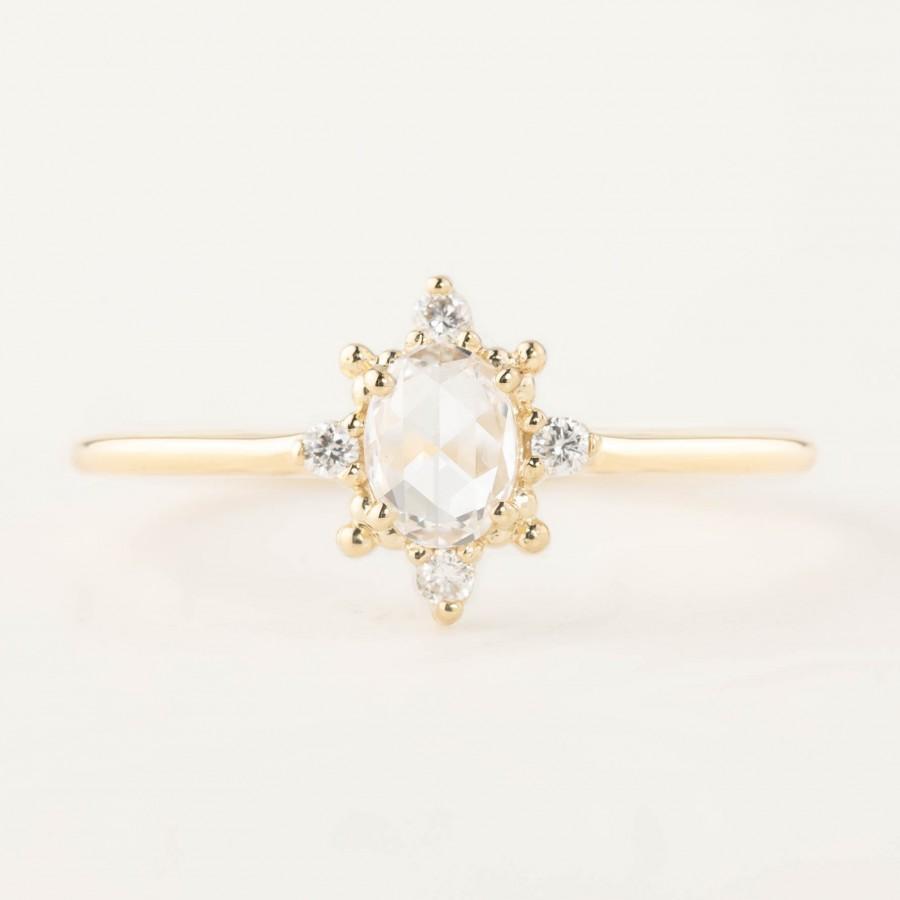 Wedding - 0.41ct Rose cut diamond halo ring, Rose cut diamond engagement ring, Low profile engagement ring, Diamond halo engagement ring, 14k gold