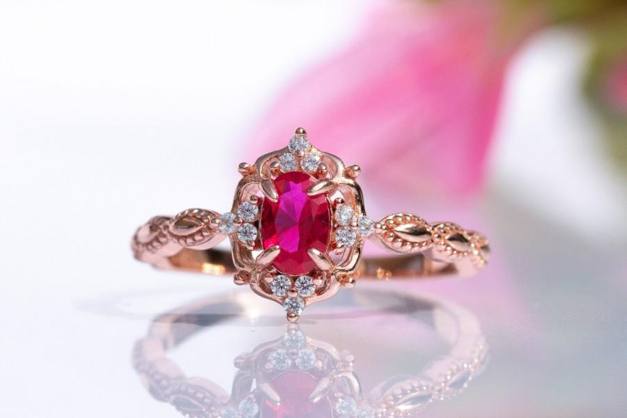 Wedding - Ruby Ring- Vintage Inspired - Rose Gold Vermeil- Engagement - Promise Ring - July Birthstone - Birthday Gift - Anniversary- Gift for Her