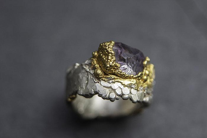 Wedding - Mind Clarity  - silver ring with lavender amethyst in gold-plated  setting