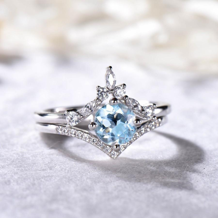 Wedding - Natural Aquamarine CZ Diamond Bridal Ring Set Sterling Silver 14k White Gold Engagement Rings Curved Band March Birthstone Anniversary Gift