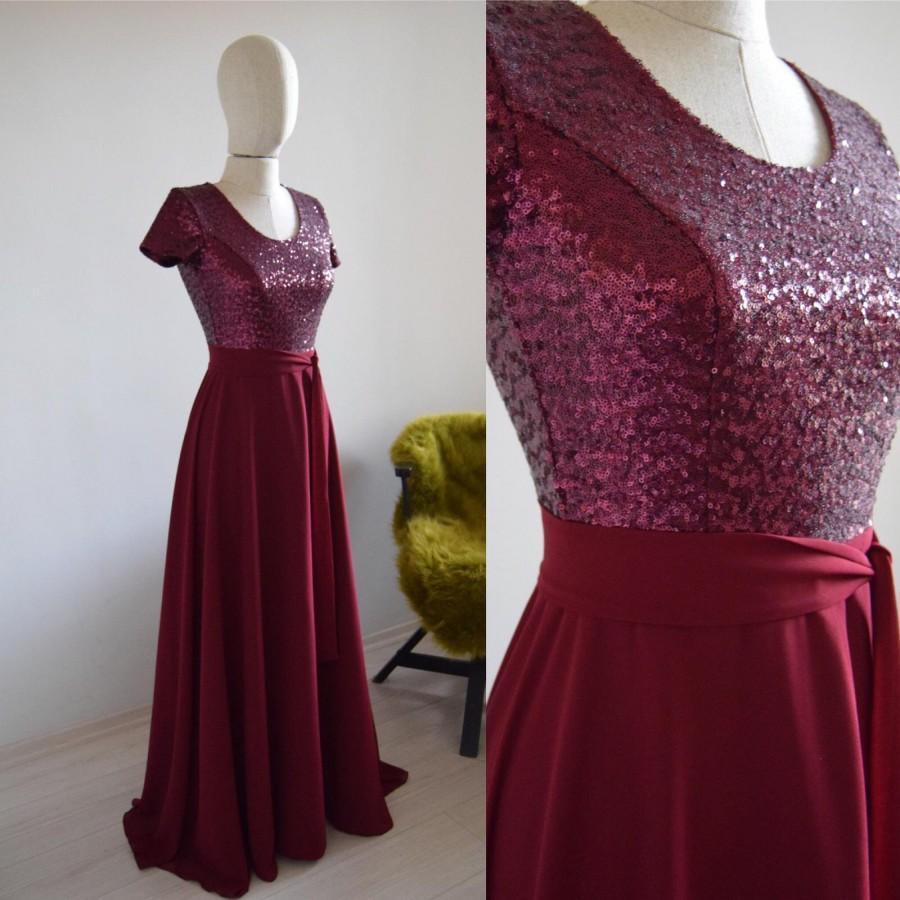 Hochzeit - Chiffon With Top Sequin Burgundy Bridesmaid Dress, Wedding Reception Dress, Sequin Burgundy Prom Dress, Sequin Bridesmaid Dress