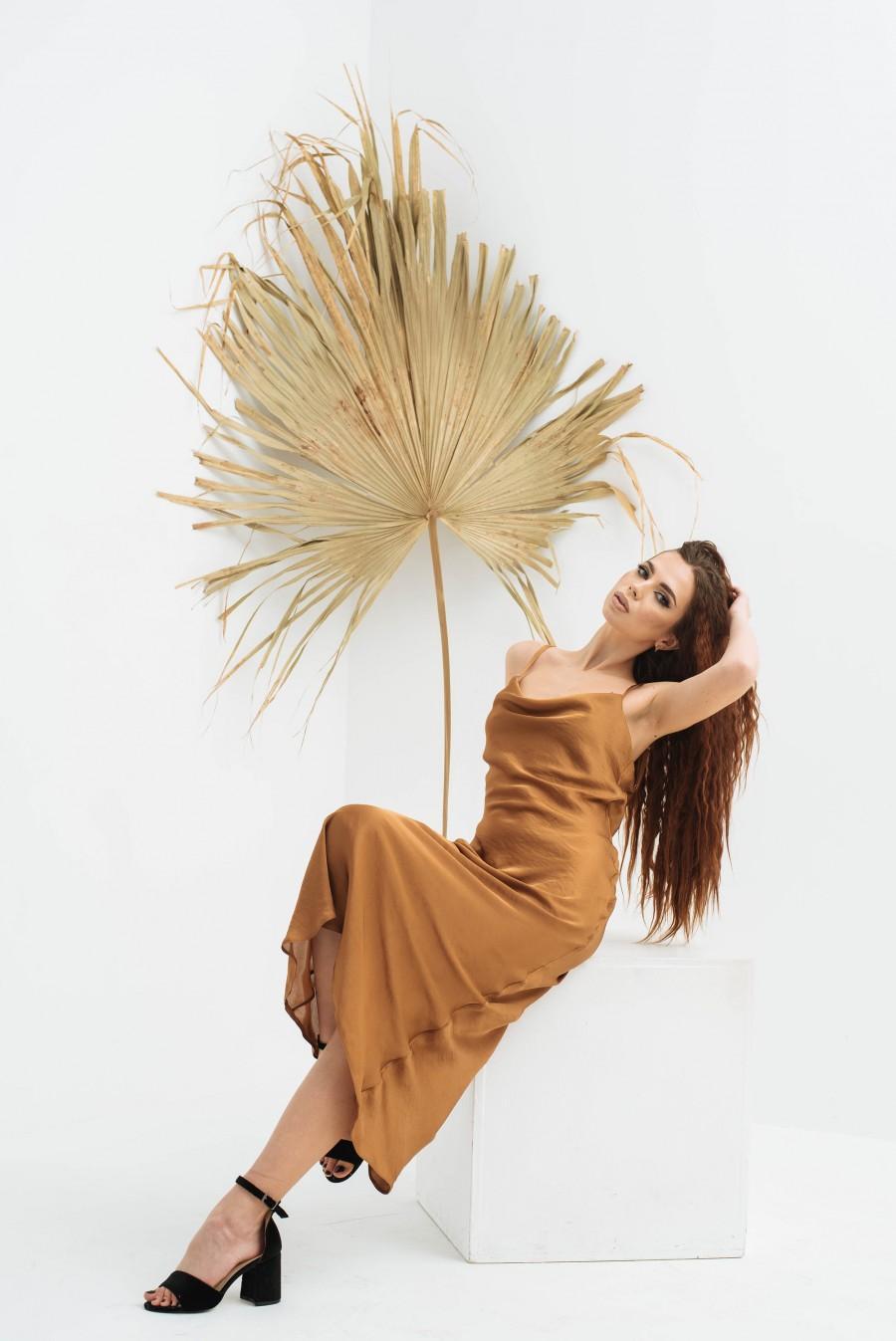 Hochzeit - Bronze silk slip dress, Cowl neck silk slip dress, Stretch silk bridesmaid dress