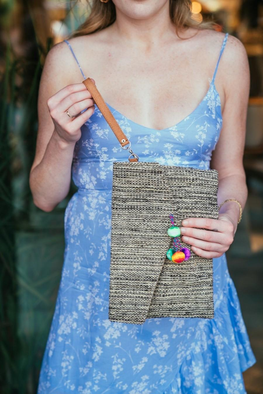Mariage - Mar Handmade Woven Clutch, Woven Wristlet with Pompoms
