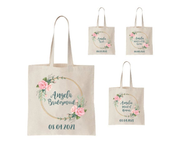 Wedding - Personalized Wedding Bags Canvas Bridal Shower Gift Bags Custom Bride Tote Bridesmaid, Mother of the Groom, Flower Girl, Rose Wreath Design