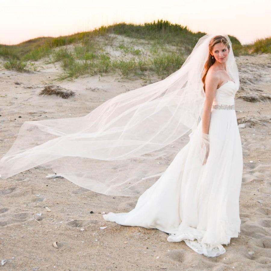 Hochzeit - Cathedral veil. Soft, full simple, smooth edge veil.  Bridal veil. WILLOW