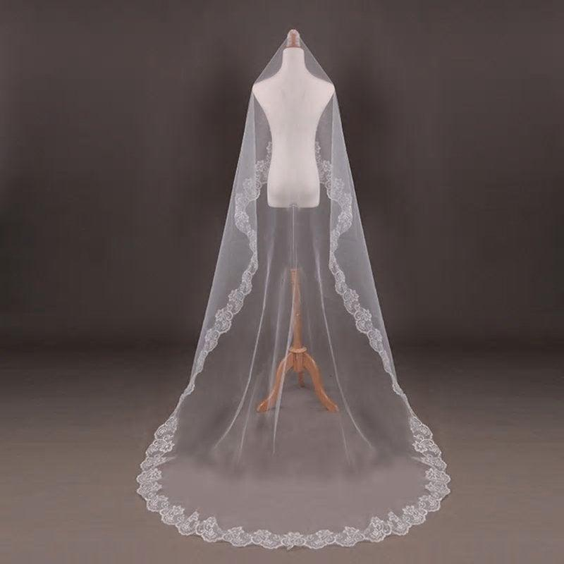 Wedding - White One Layer 3 Metre Cathedral Bridal Veil With Flower Lace Trim Edging