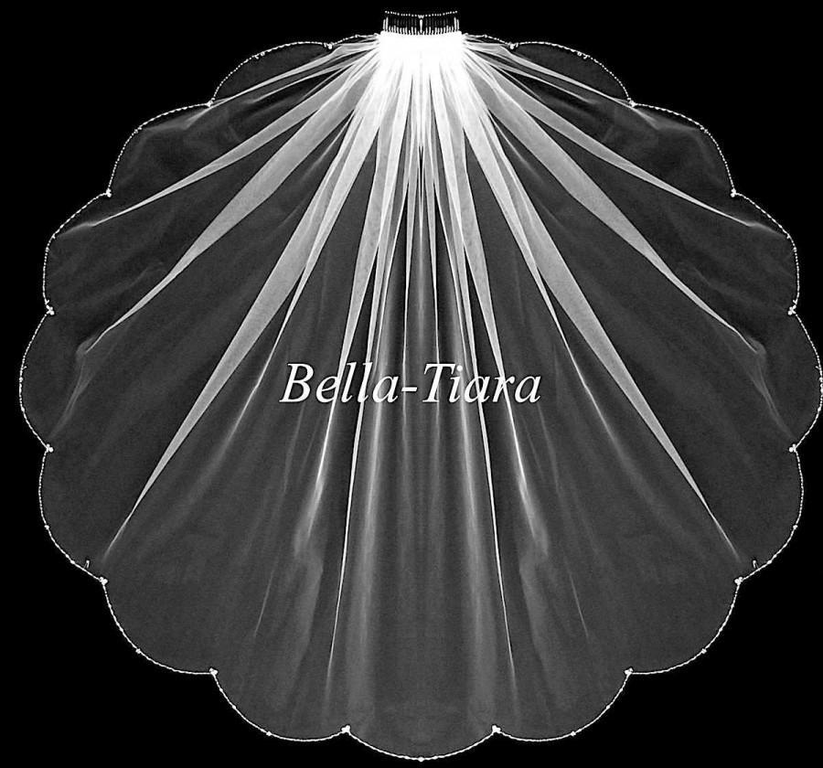Свадьба - wedding veil, bridal veil, beaded crystal veil, beaded wedding veil, scalloped wedding veil, crystal beaded wedding veil, beaded edge veil