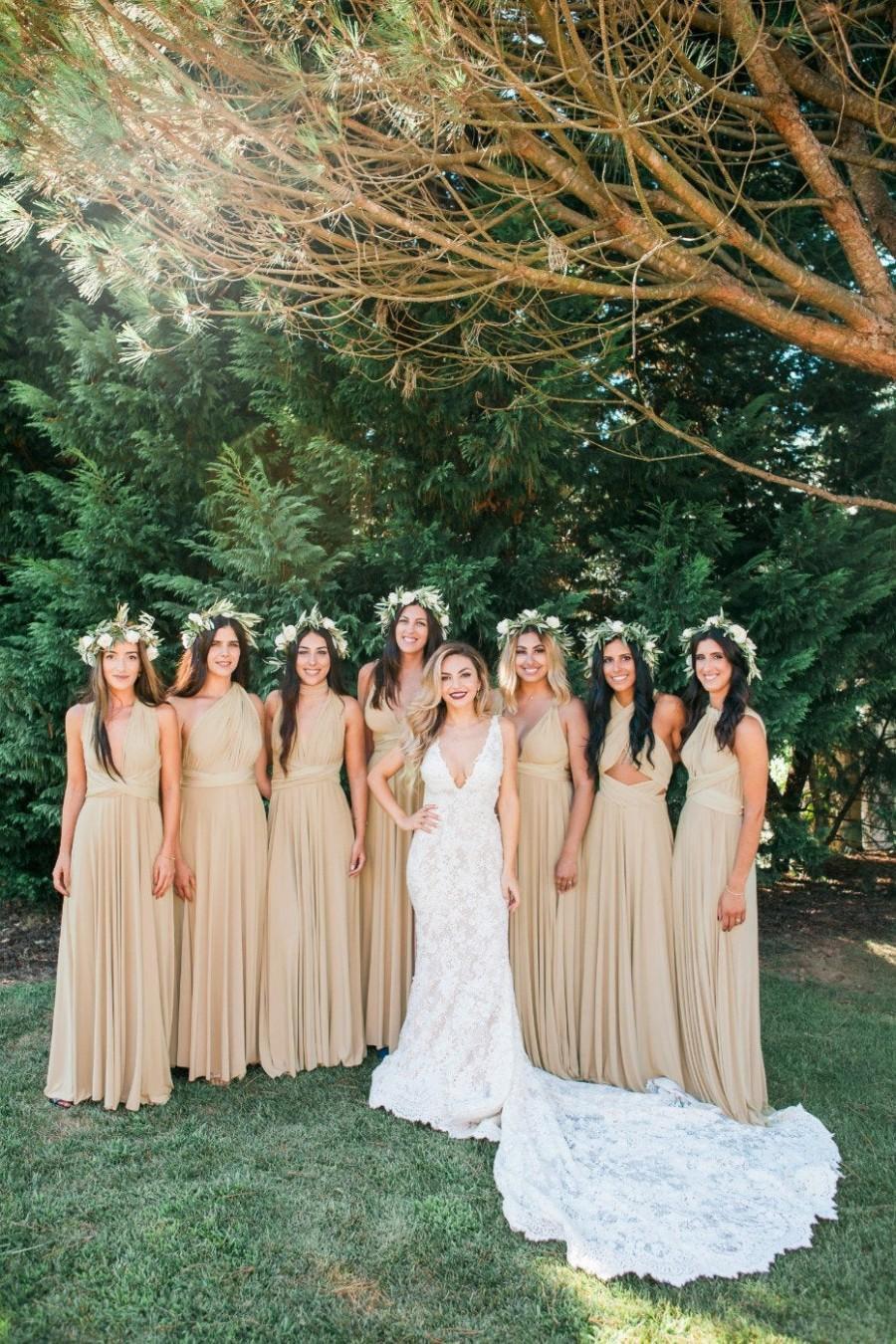 Wedding - Beige Floor Length Bridesmaid Dress Convertible Bridesmaid Dress Multiway Dress Infinity Bridesmaid Dress Maternity Dress Ball Gown Wedding