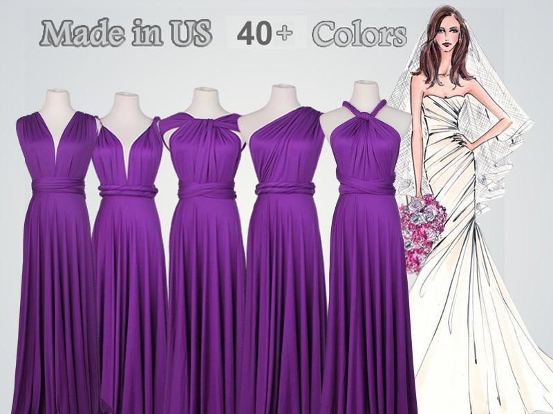 Wedding - Violet Purple bridesmaid dress long, Floor-length Bridesmaid dress, infinity dress, convertible dress, maternity dress, Purple Dress
