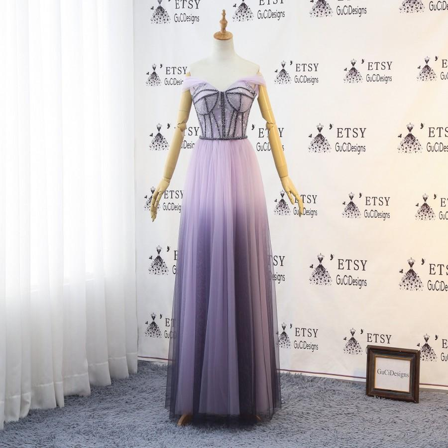 Hochzeit - Etherial Fairy Lilac Nymph Dress Lace Tulle Purple Wedding Dress Ombre Bridesmaid Dress Sexy Off Shoulder Evening Gown Beaded Prom Dresses