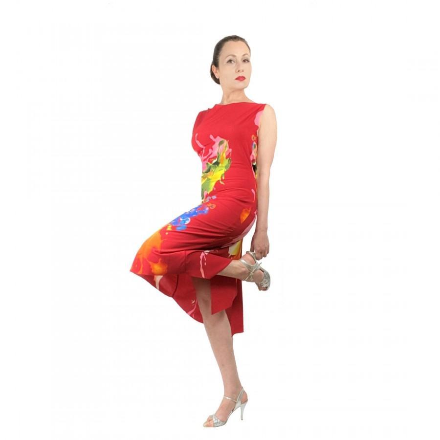 Hochzeit - Argentine Tango Dress - ISABELLE vibrant red milonga dress with open back and slit - Elegant tango clothes