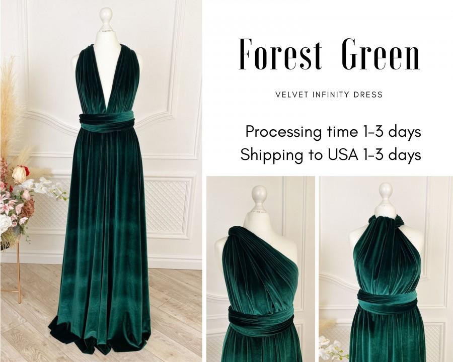 Hochzeit - FOREST GREEN Velvet Infinity Dress Bridesmaid Dresses