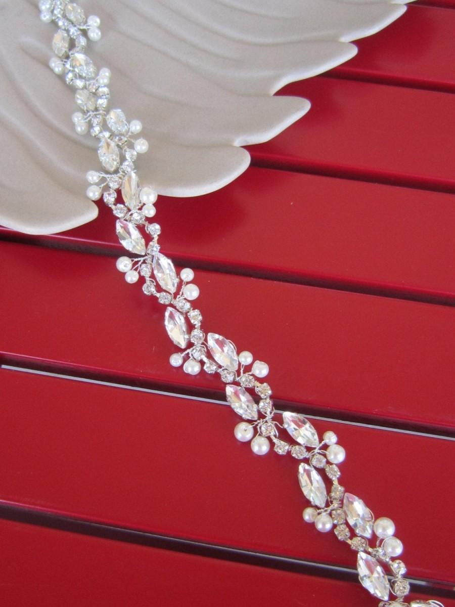 Hochzeit - Bridal Rhinestones Wedding Belt. Crystal Bridal Sash, Bridal Dress Belt, Bridal Sash, Rhinestone and Pearl Thin Bridal Belt