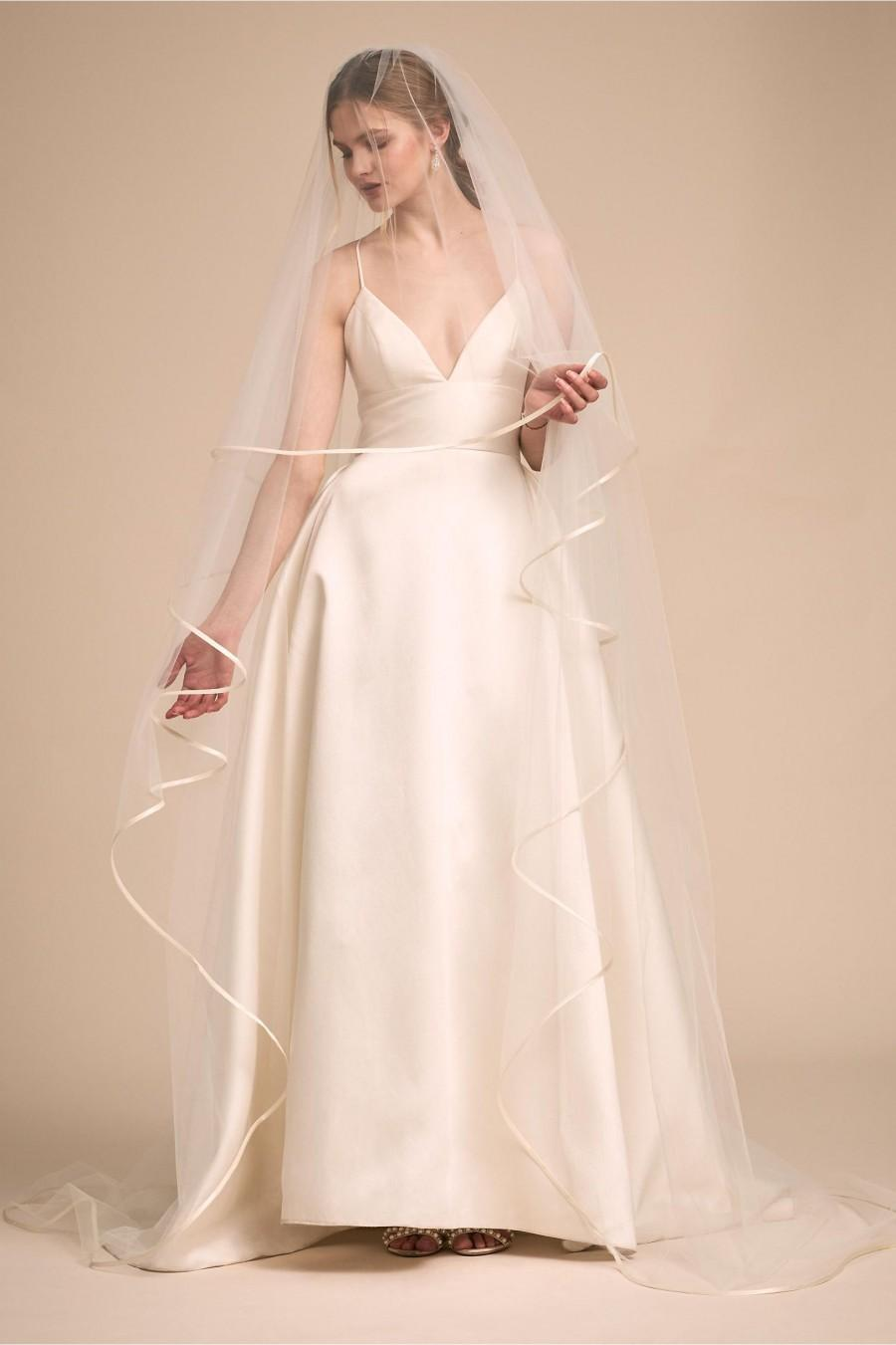 Hochzeit - Classic Ivory Cream Tulle 2 Layer Cathedral 2.5m Bridal Veil With Ribbon Trim Edging