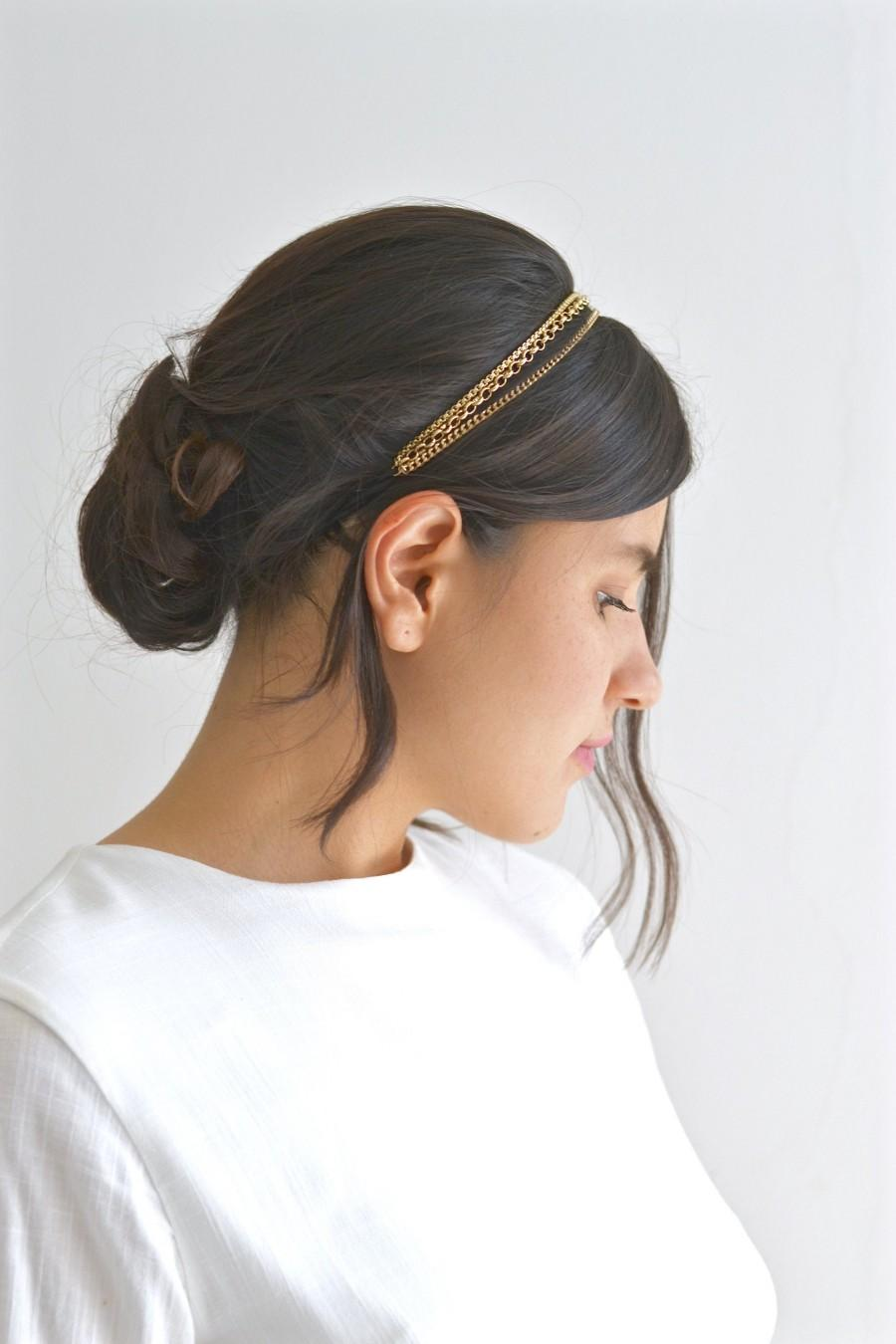 Mariage - Headband headband triple bride 3 fine chains gold or Hair head hairstyle romantic wedding bohemian delicate fine headband