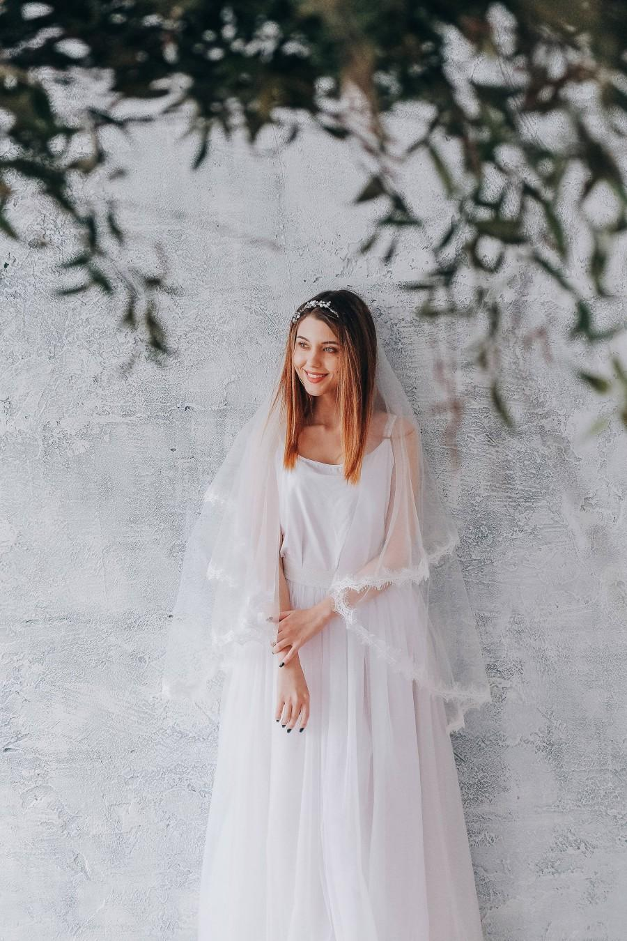 Mariage - Wedding veil with lace trim, wedding veil with blusher, double-tier bridal veil