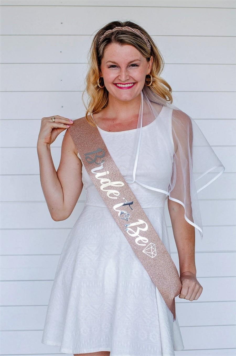 Mariage - Bachelorette Party Sash - Bride to Be Sash - Rose Gold - Silver - Bachelorette Party Decorations - Premium Glitter Sash - Bride Gift