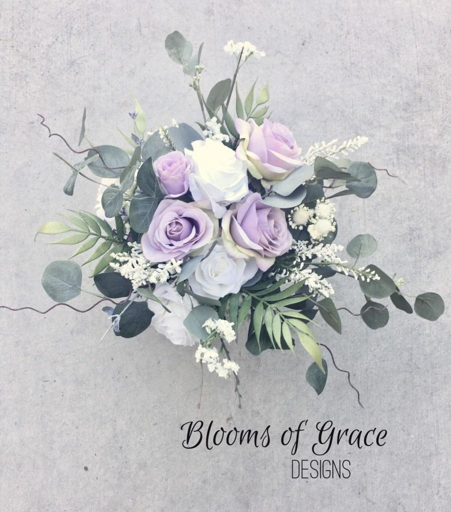 Mariage - Lavender bridal bouquet, lilac bridal bouquet, lavender rose bride bouquet, romantic bride bouquet.