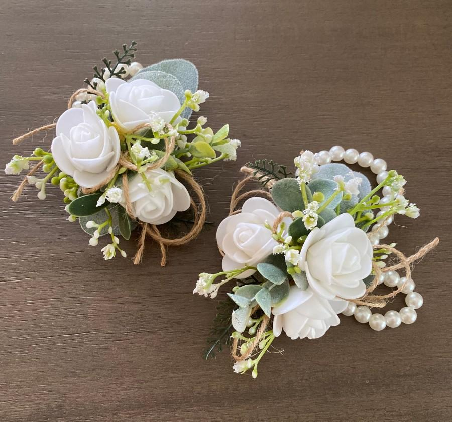 Mariage - Boho rose corsage with pearl wristlet, wrist corsage, pin on corsage, mother of the bride or groom flowers