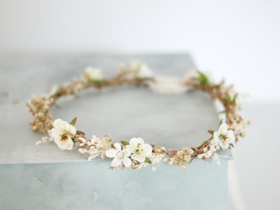 Mariage - Dried baby's breath floral crown for wedding, bridal flower halo, preserved floral crown, baby breath headband, dainty flower headband