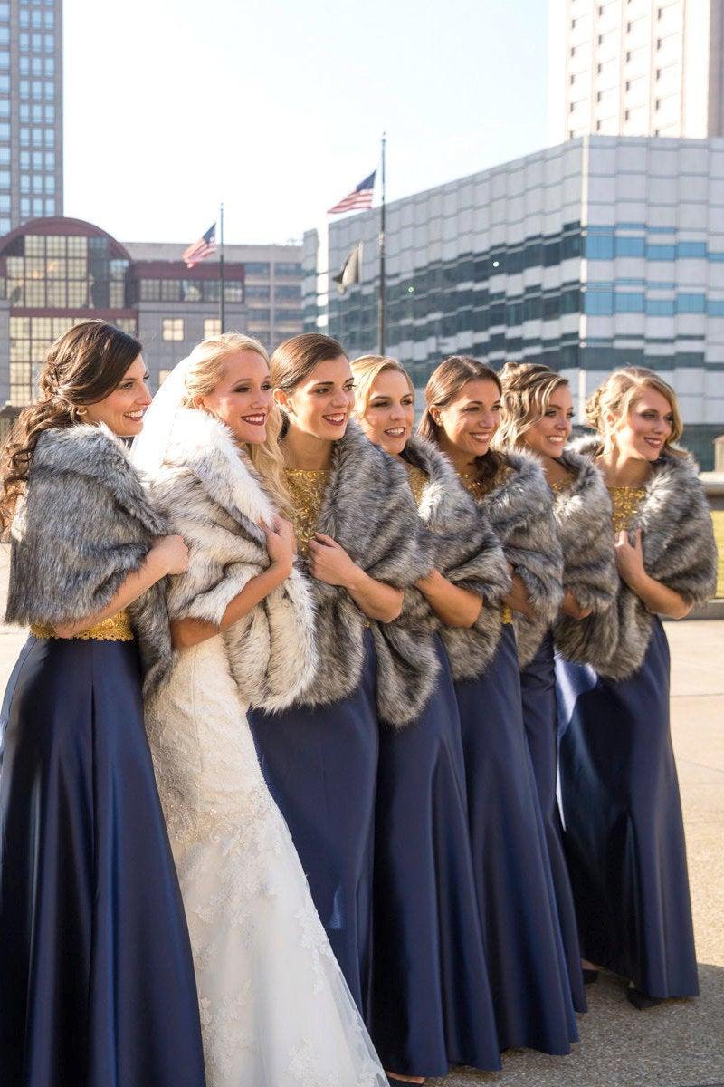 Mariage - Bride Bridesmaid Faux Fur Shawl Gray