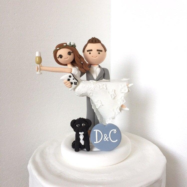 زفاف - Honeymoon Jitters with dog - bride and groom handmade Custom wedding cake topper , mr and mrs , personalized, game,champagne