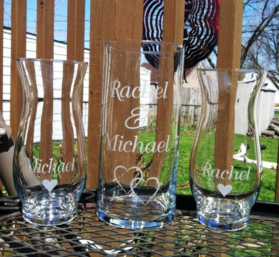 Hochzeit - 3 Piece Personalized Sand Ceremony set  Wedding Ceremony  Names 1 Large Vase 2 small vases with hearts