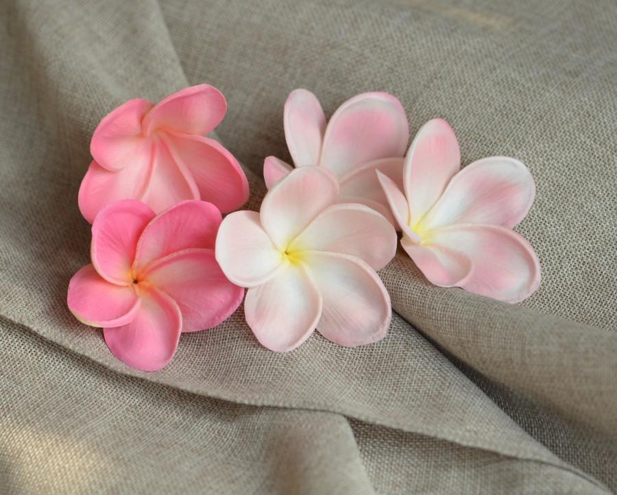 Hochzeit - Pink Plumerias, Real Touch Flowers, flower heads, DIY cake decoration