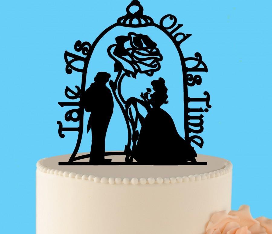 زفاف - Beauty and the Beast Wedding Cake Topper, wedding cake topper, Enchanted Rose, Wedding Cake Topper