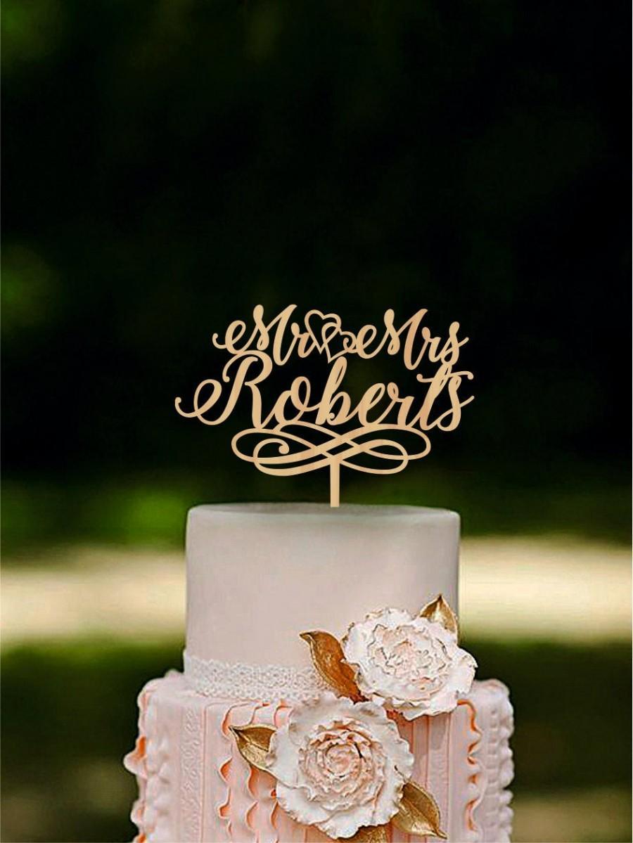Hochzeit - Wedding Cake Topper Mr and Mrs Cake Topper With Surname Heart Topper Gold cake topper Silver cake topper