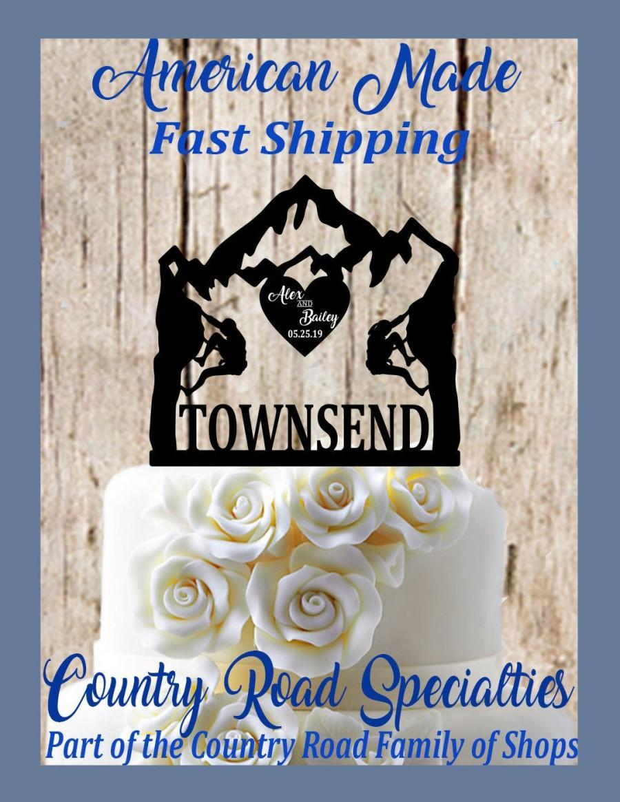Mariage - Rock Climbing Couple - Personalized Wedding Cake Topper - First Names - Last Name - Event Date - Mountain Wedding - Adventure Awaits