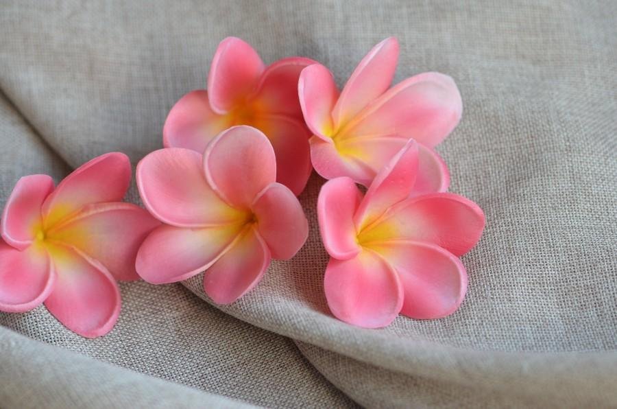 Mariage - Coral Pink Plumerias,  Real Touch frangipani, Artificial Flower Heads DIY Cake decoration and wedding bouquets