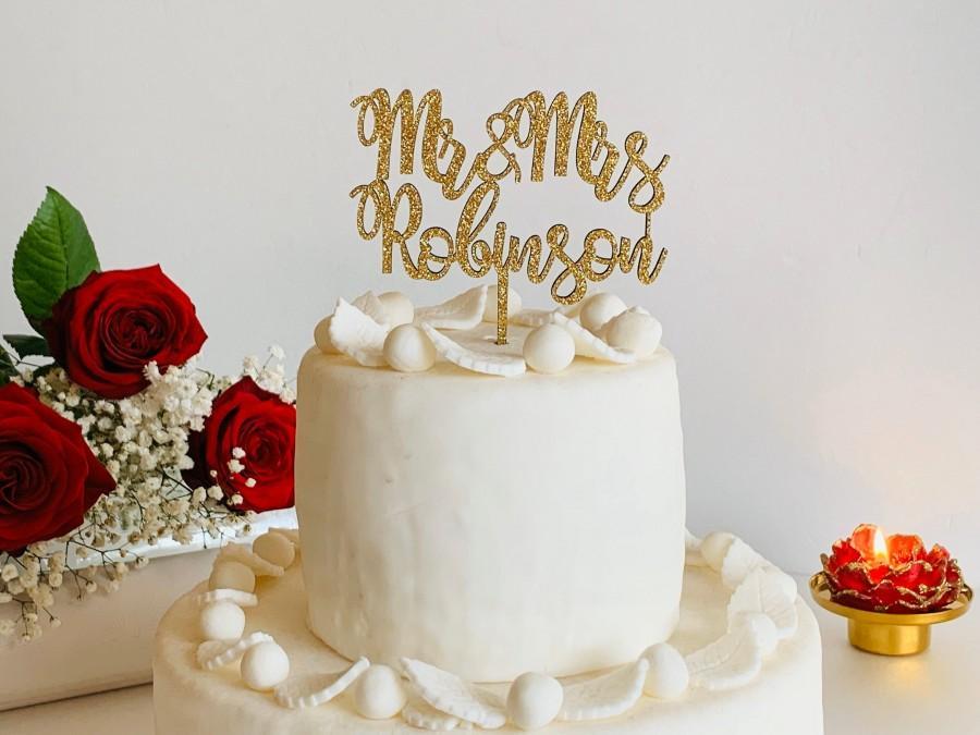زفاف - Personalized Gold Glitter Wedding Cake Topper Custom Mr and Mrs Last Name Calligraphy Wood Acrylic Table Centerpieces Customized Decorations