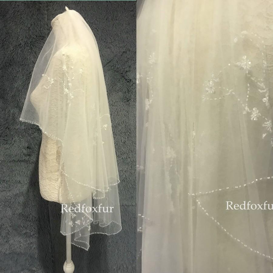 Mariage - Beaded veil,Wedding veil,Bridal veil,Floral veil,Blusher veil,ivory veil,Bridal gift,Crystal veil,Fingertip veil,2tiers Veil,Comb veil