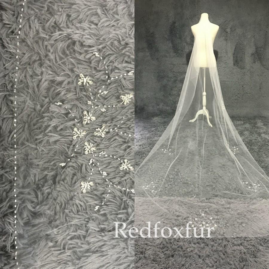 Wedding - Beaded Wedding veil,Cathedral Veil,Bridal Veil,Crystal veil,Sequins veil,Ivory veil,Pearl veil,1 Tiers Veil,Blusher veil,Long veil,No comb