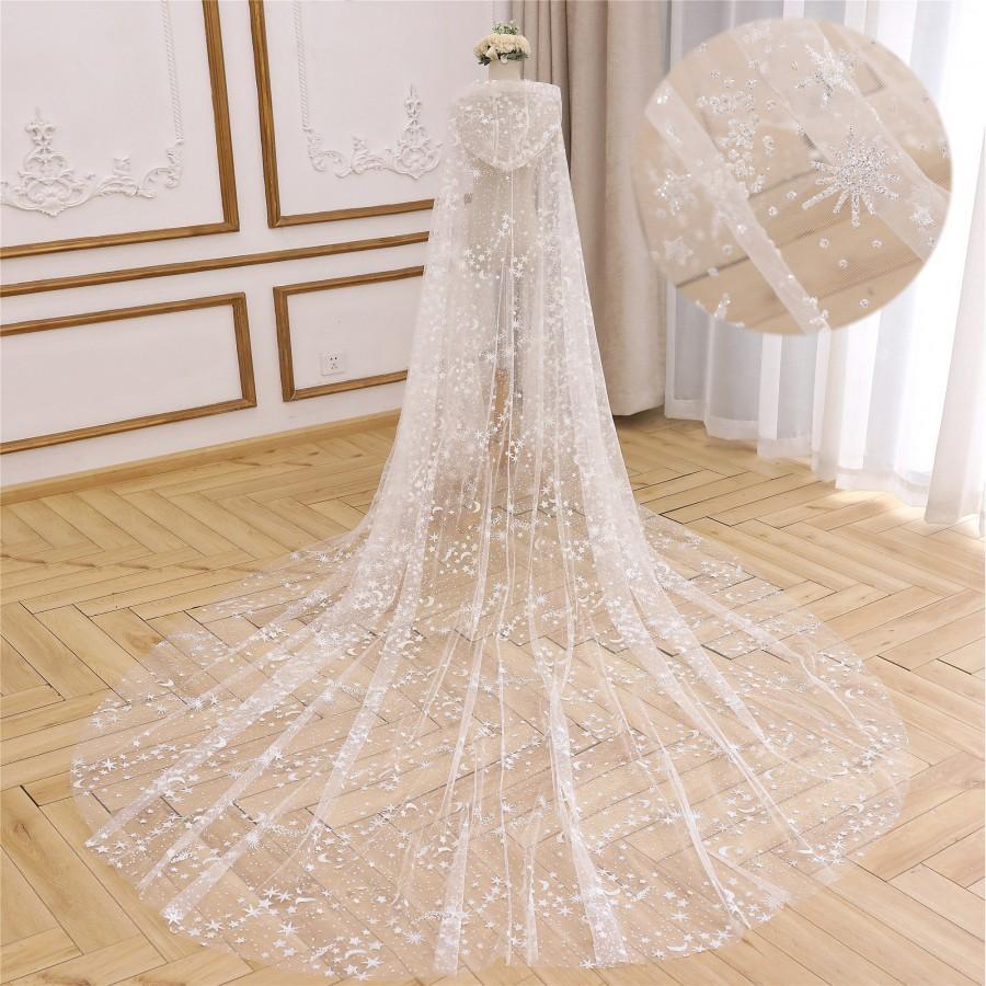 Wedding - Hooded Wedding Cape Veil Chiffon Lace Veil Bridal Cloak Veil White Wedding Cape Wedding Lace Cape with Hooded Star and Moon Wedding Veil