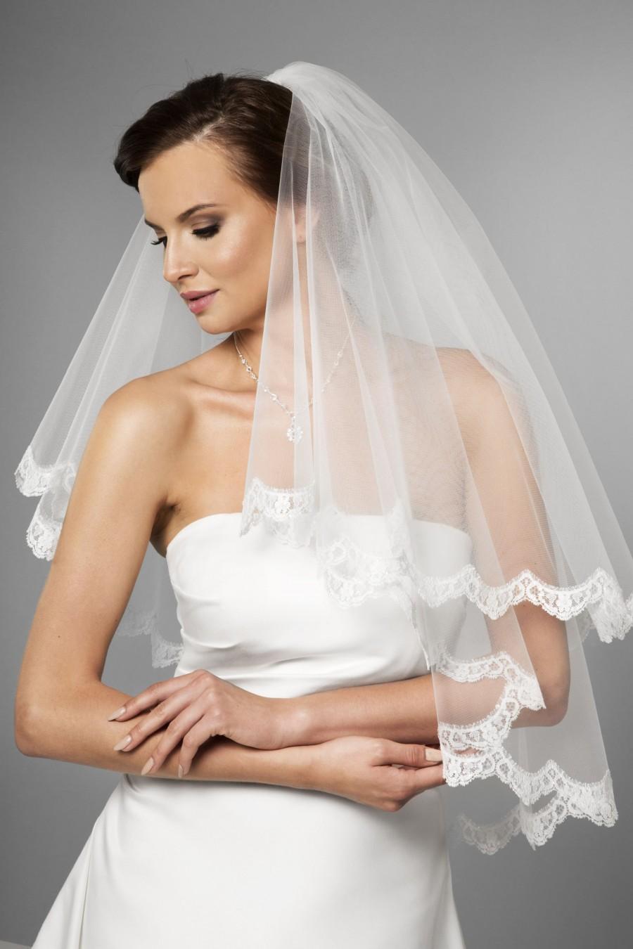 Wedding - 2 tier, white, light ivory, ivory, wedding veil with french lace, bridal veil with french lace, veil with comb, welon ślubny z koronką