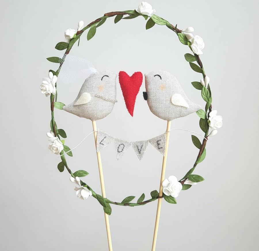 Wedding - Full of Love Bride and Groom Birds Wedding Cake Topper - Wedding Birds Cake Topper With Garland Love - Birds Cake Topper with Wreath