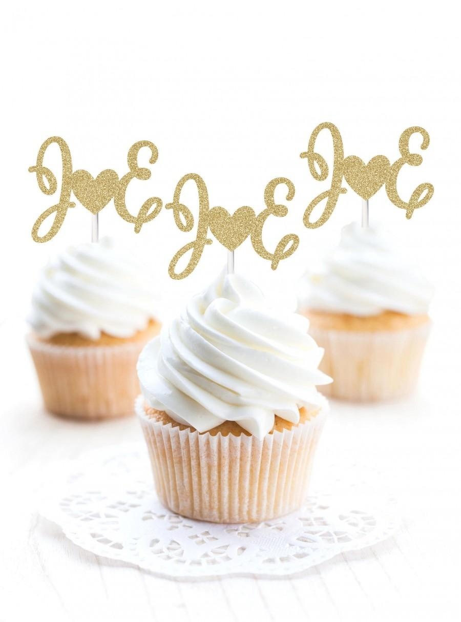 Hochzeit - Wedding Initial Cupcake Toppers, Engagement Initial Cupcake Toppers,Wedding Party Cupcake Toppers,Wedding Toppers,Engagement Cupcake Toppers