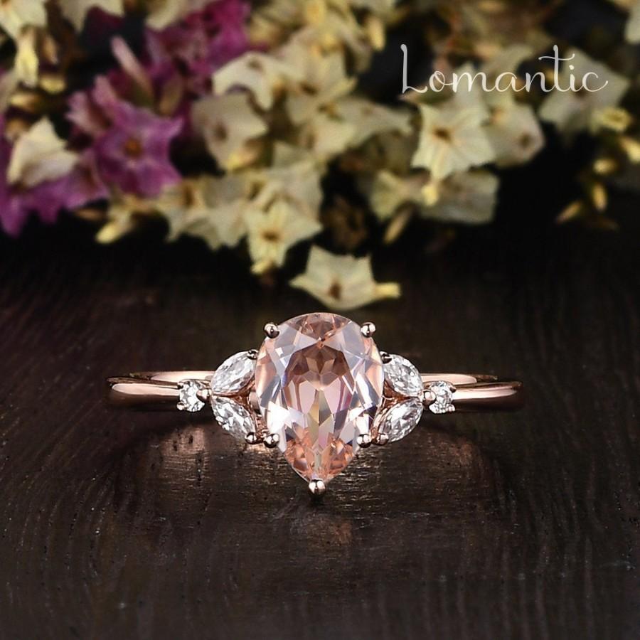 زفاف - Pear Shaped Morganite Engagement Ring Rose Gold Engagement Ring Antique Morganite Cluster Ring Marquise Moissanite Diamond Anniversary Gift