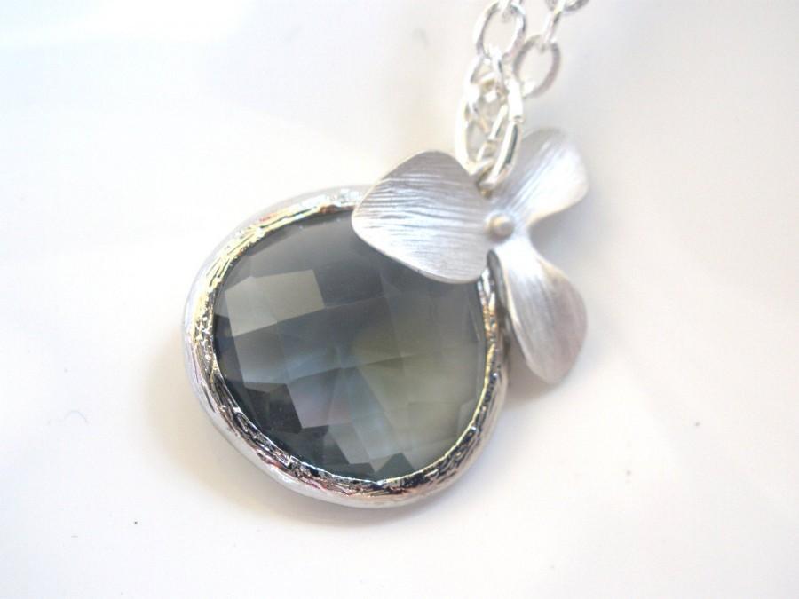 زفاف - Gray Necklace, Grey Necklace, Charcoal Pendant, Orchid Silver Necklace, Silver Orchid Flower Necklace, Bridesmaid Necklace, Bridesmaid Gift
