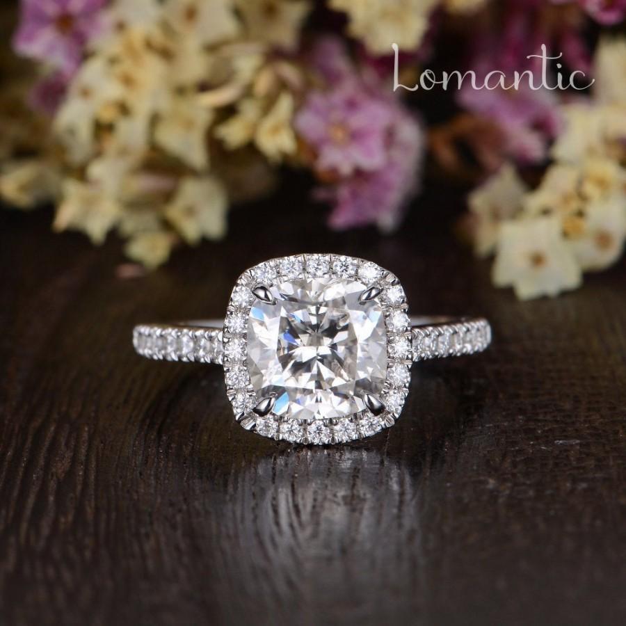 زفاف - 2ct Moissanite Engagement Ring Cushion Cut Moissanite Halo Ring Unique White Gold Wedding Ring Woman Antique Classic Ring Anniversary Gift
