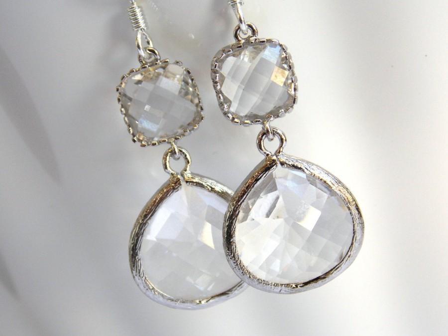 زفاف - Glass Earrings, Crystal Earrings, Clear Earrings, Transparent, White, Silver, Bridesmaid Earrings, Bridal Earrings, Bridesmaid Gifts