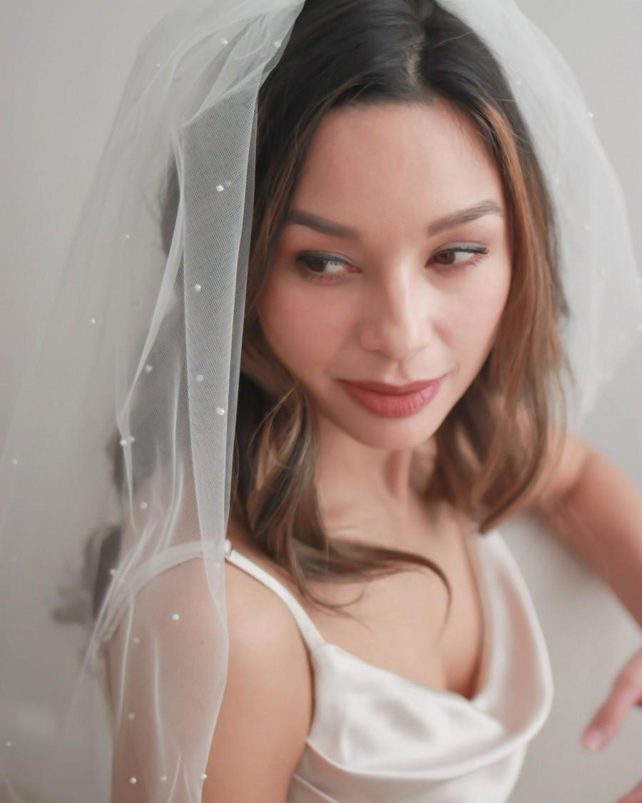 زفاف - Pearl Bridal Veil, Scattered Pearl Wedding Veil, Pearl Wedding Veil, Ivory Veil, Fingertip Veil, Bridal, Bridal Hair Accessory Veil ~5102