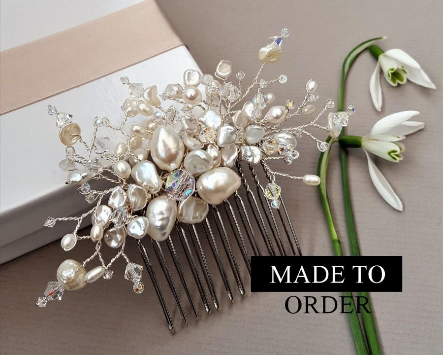 Wedding - Freshwater pearl hair comb, Floral pearl comb, Pearl hair accessories, Pearl headpiece, Keshi pearl headpiece, Pearl Flower headpiece