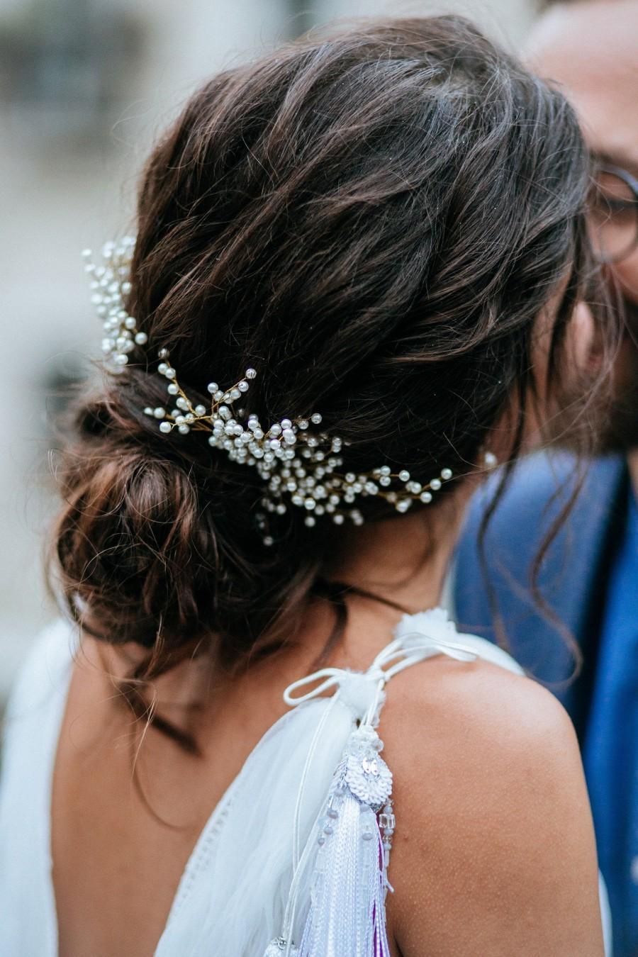 Wedding - Wedding hair piece Babys breath hair pin Gypsophila hair comb Bridesmaid hair accessories Fall wedding valentine's day for her