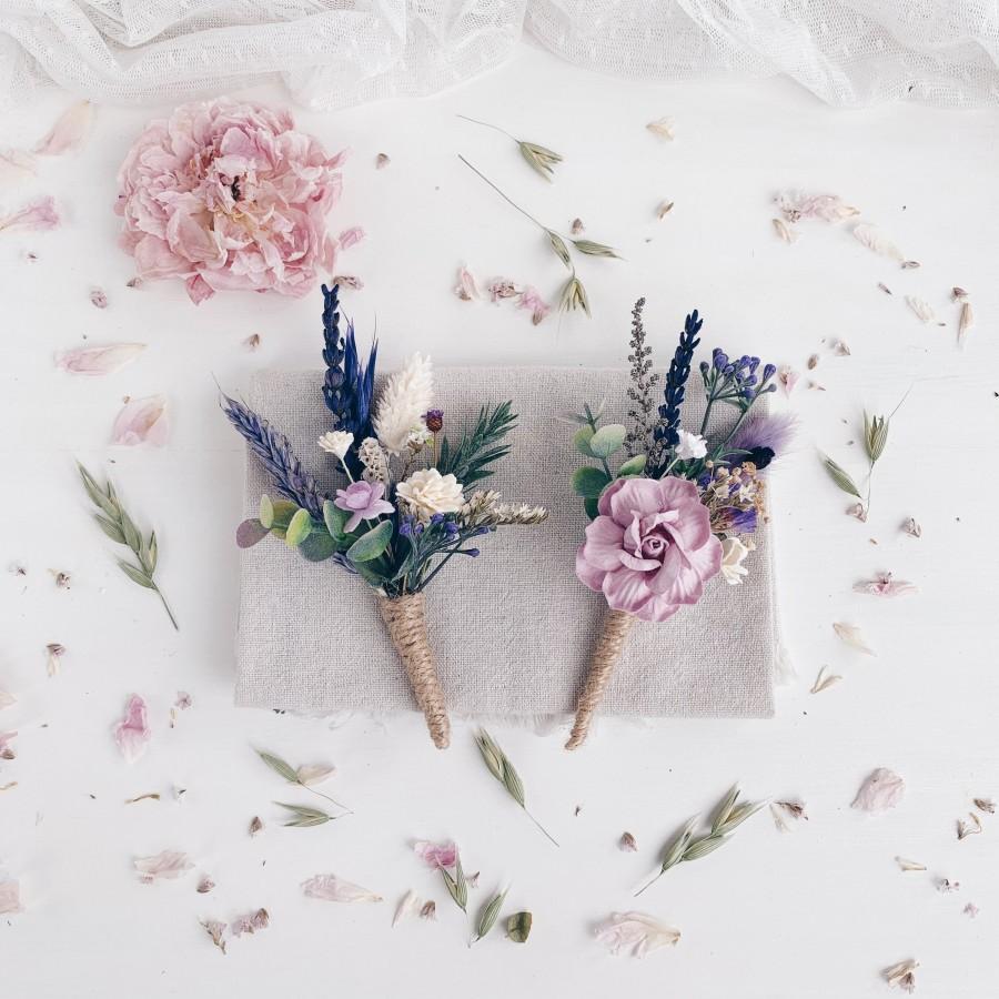 Hochzeit - Wedding boutonnière, Set of 2 corsage and boutonniere, Lavender wedding, LAVENDER wrist Corsage, Wedding corsage, Rustic wedding
